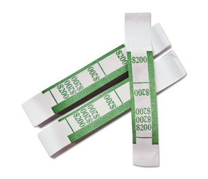 PM Company, LLC 55028 Color-Coded Kraft Currency Straps, Dollar Bill, $200, Self-Adhesive, 1000/Pack by PM COMPANY