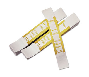 PM Company, LLC 55010 Self-Adhesive Currency Straps, Mustard, $10,000 in $100 Bills, 1000 Bands/Pack by PM COMPANY