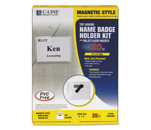C-Line Products, Inc 92943 Magnetic Name Badge Holder Kit, Horizontal, 4w x 3h, Clear, 20/Box by C-LINE PRODUCTS, INC