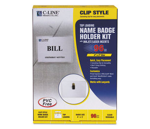 C-Line Products, Inc 95596 Name Badge Kits, Top Load, 4 x 3, White, Clip Style, 96/Box by C-LINE PRODUCTS, INC