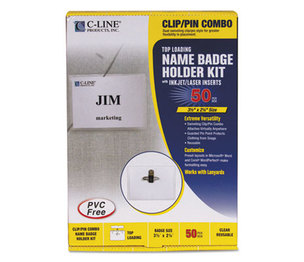 C-Line Products, Inc 95723 Name Badge Kits, Top Load, 3 1/2 x 2 1/4, White, Combo Clip/Pin, 50/Box by C-LINE PRODUCTS, INC