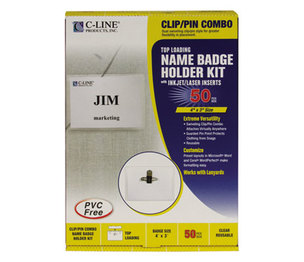 C-Line Products, Inc 95743 Name Badge Kits, Top Load, 4 x 3, White, Combo Clip/Pin, 50/Box by C-LINE PRODUCTS, INC