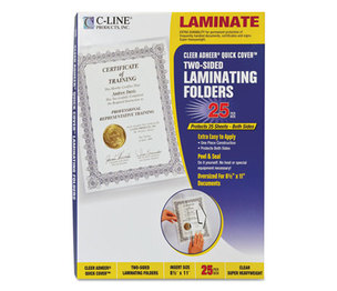 """C-Line Products, Inc 65187 Quick Cover Laminating Pockets, 12 mil, 9 1/8"""" x 11 1/2"""", 25/Pack by C-LINE PRODUCTS, INC"""