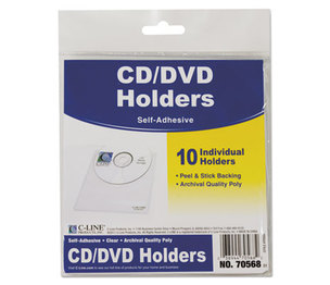 C-Line Products, Inc 70568 Self-Adhesive CD Holder, 5 1/3 x 5 2/3, 10/PK by C-LINE PRODUCTS, INC