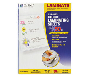 "C-Line Products, Inc 65004 Cleer Adheer Self-Adhesive Laminating Film, 2 mil, 9"" x 12"", 50/Box by C-LINE PRODUCTS, INC"
