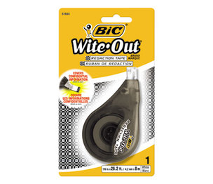 "Wite-Out Redaction Tape, Non-Refillable, 1/6"" x 314"" by BIC CORP."