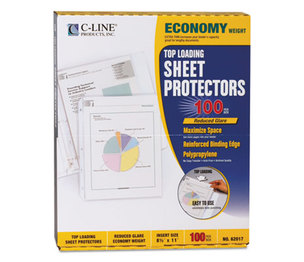"C-Line Products, Inc 62017 Economy Weight Poly Sheet Protector, Reduced Glare, 2"", 11 x 8 1/2, 100/BX by C-LINE PRODUCTS, INC"