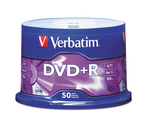 Verbatim America, LLC 95037 DVD+R Discs, 4.7GB, 16x, Spindle, Matte Silver, 50/Pack by VERBATIM CORPORATION