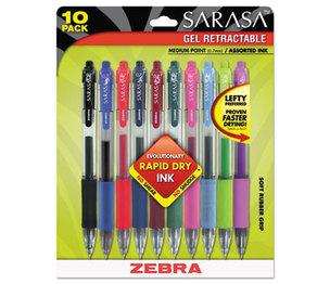 ZEBRA PEN CORPORATION 46881 Sarasa Retractable Gel Pen, Assorted Ink, Medium, 10/Pack by ZEBRA PEN CORP.