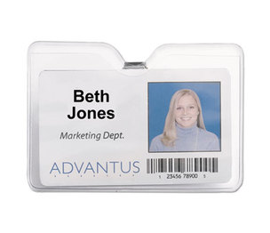 Advantus Corporation 75456 ID Badge Holder w/Clip, Horizontal, 4w x 3h, Clear, 50/Pack by ADVANTUS CORPORATION