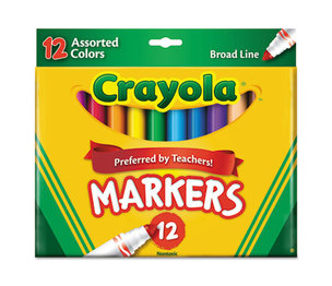 BINNEY & SMITH / CRAYOLA 587712 Non-Washable Markers, Broad Point, Classic Colors, 12/Set by BINNEY & SMITH / CRAYOLA