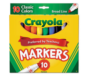 BINNEY & SMITH / CRAYOLA 587722 Non-Washable Markers, Broad Point, Classic Colors, 10/Set by BINNEY & SMITH / CRAYOLA