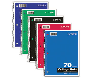 Tops Products 65021 Coil-Lock Wirebound Notebooks, College/Medium, 10-1/2 x 8, White, 70 Sheets by TOPS BUSINESS FORMS