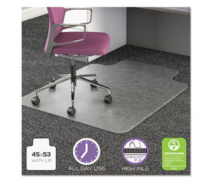 Deflecto Corporation CM16233 UltraMat All Day Use Chair Mat for High Pile Carpet, Beveled, 45x53 w/Lip, Clear by DEFLECTO CORPORATION