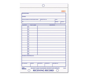 REDIFORM OFFICE PRODUCTS 2L259 Receiving Record Book, 5 1/2 x 7 7/8, Two-Part Carbonless, 50 Sets/Book by REDIFORM OFFICE PRODUCTS