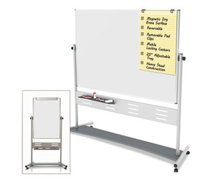 "Bi-silque S.A QR5203 Revolver Easel, 35 2/5""w x 47 1/5""h Board, 80"" Easel Height, White/Silver by BI-SILQUE VISUAL COMMUNICATION PRODUCTS INC"