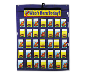 Carson-Dellosa Publishing Co., Inc CD-5644 Attendance/Multiuse Pocket Chart, 35 Pockets/Two-Sided Cards, Blue, 30 x 37 1/2 by CARSON-DELLOSA PUBLISHING