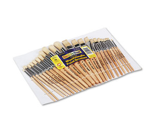 The Chenille Kraft Company 5172 Preschool Brush Set, Sizes 1-12, Natural Bristle, Flat; Round, 24/Set by THE CHENILLE KRAFT COMPANY