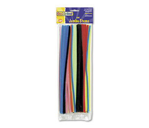 "The Chenille Kraft Company 7110-01 Jumbo Stems, 12"" x 6mm, Metal Wire, Polyester, Assorted, 100/Pack by THE CHENILLE KRAFT COMPANY"