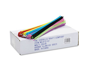 "The Chenille Kraft Company 9112-01 Regular Stems, 12"" x 4mm, Metal Wire, Polyester, Assorted, 1000/Box by THE CHENILLE KRAFT COMPANY"