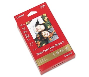 Canon, Inc 2311B023 Photo Paper Plus Glossy II, 4 x 6, 10.6 mil, White, 100 Sheets/Pack by CANON USA, INC.
