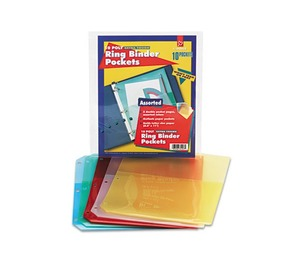 Cardinal Brands, Inc 84007 Poly Ring Binder Pockets, 8-1/2 x 11, Assorted Colors, 5 Pockets/Pack by CARDINAL BRANDS INC.