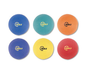 CHAMPION SPORTS PGSET Playground Ball Set, Nylon, Assorted Colors, 6/Set by CHAMPION SPORT