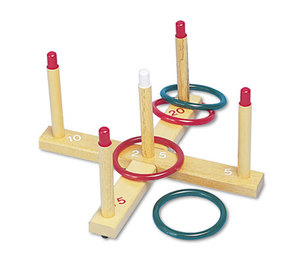 Ring Toss Set, Plastic/Wood, Assorted Colors, 4 Rings/5 Pegs/Set by CHAMPION SPORT