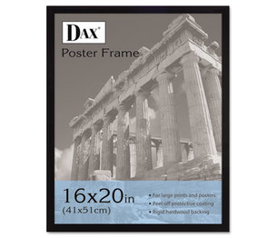 DAX MANUFACTURING INC. 2860V2X Flat Face Wood Poster Frame, Clear Plastic Window, 16 x 20, Black Border by DAX MANUFACTURING INC.