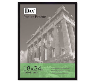 DAX MANUFACTURING INC. 2860W2X Flat Face Wood Poster Frame, Clear Plastic Window, 18 x 24, Black Border by DAX MANUFACTURING INC.