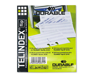 Durable Office Products Corp. 241902 TELINDEX Flip Address Card Refills, 4 1/8 x 2 7/8 Cards, Gray/White, 100/Pack by DURABLE OFFICE PRODUCTS CORP.