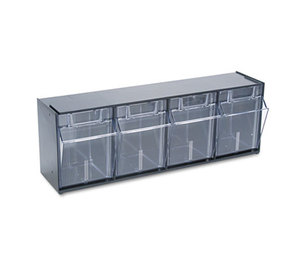 Deflecto Corporation 20404OP Tilt Bin Plastic Storage System w/4 Bins, 23 5/8 x 6 5/8 x 8 1/8, Black by DEFLECTO CORPORATION