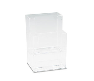 Deflecto Corporation 77201 Extra-Deep Flat Back Display, Two Compartments, 4-1/2w x 3-3/4d x 7h, Clear by DEFLECTO CORPORATION