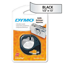 DYMO 91338 LetraTag Metallic Label Tape Cassette, 1/2in x13ft, Silver by DYMO
