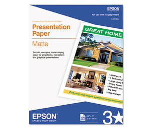 Epson Corporation S041062 Matte Presentation Paper, 27 lbs., Matte, 8-1/2 x 11, 100 Sheets/Pack by EPSON AMERICA, INC.