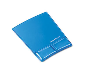 Fellowes, Inc 9182201 Gel Wrist Support w/Attached Mouse Pad, Blue by FELLOWES MFG. CO.