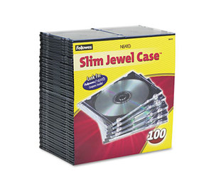 Fellowes, Inc 98335 Slim Jewel Case, Clear/Black, 100/Pack by FELLOWES MFG. CO.