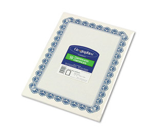 Geographics, LLC 22901 Parchment Paper Certificates, 8-1/2 x 11, Blue Royalty Border, 50/Pack by GEOGRAPHICS