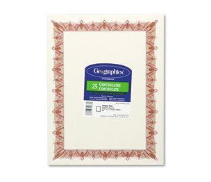 Geographics, LLC 39086 Award Certificates w/Gold Seals, 8-1/2 x 11, Unique Red Border, 25/Pack by GEOGRAPHICS