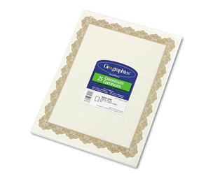 Geographics, LLC 39451 Parchment Paper Certificates, 8-1/2 x 11, Optima Gold Border, 25/Pack by GEOGRAPHICS