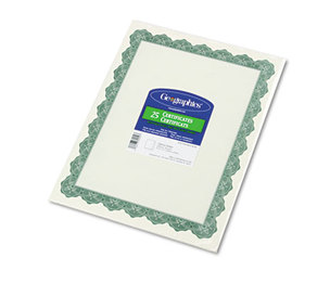 Geographics, LLC 39452 Parchment Paper Certificates, 8-1/2 x 11, Optima Green Border, 25/Pack by GEOGRAPHICS