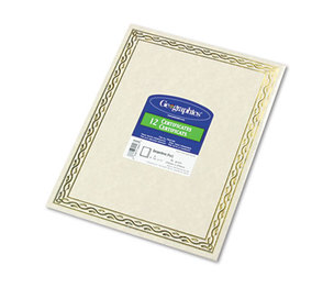 Geographics, LLC 44407 Foil Stamped Award Certificates, 8-1/2 x 11, Gold Serpentine Border, 12/Pack by GEOGRAPHICS