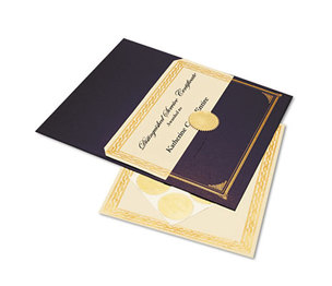 Geographics, LLC 47481 Ivory/Gold Foil Embossed Award Cert. Kit, Blue Metallic Cover, 8-1/2 x 11, 6/KIt by GEOGRAPHICS
