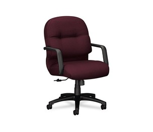 HON COMPANY 2092NT69T 2090 Pillow-Soft Series Managerial Mid-Back Swivel/Tilt Chair, Wine Fabric/Black by HON COMPANY
