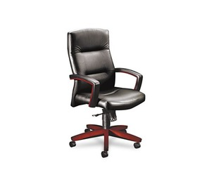HON COMPANY 5001NSS11 5000 Series Executive High-Back Swivel/Tilt Chair, Black Leather/Mahogany by HON COMPANY