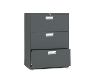 HON COMPANY 673LS 600 Series Three-Drawer Lateral File, 30w x 19-1/4d, Charcoal by HON COMPANY