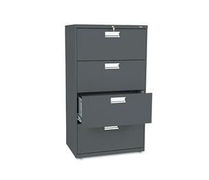HON COMPANY 674LS 600 Series Four-Drawer Lateral File, 30w x 19-1/4d, Charcoal by HON COMPANY
