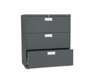 HON COMPANY 683LS 600 Series Three-Drawer Lateral File, 36w x 19-1/4d, Charcoal by HON COMPANY
