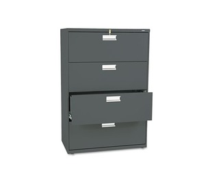 HON COMPANY 684LS 600 Series Four-Drawer Lateral File, 36w x 19-1/4d, Charcoal by HON COMPANY