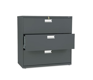 HON COMPANY 693LS 600 Series Three-Drawer Lateral File, 42w x 19-1/4d, Charcoal by HON COMPANY